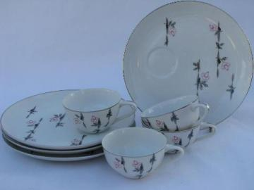 pink roses vintage Japan - Laurel China snack sets, set for four, cups & plates