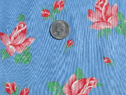 pink sweetheart roses floral on blue, vintage cotton print fabric