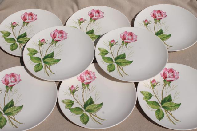 pink tea rose pattern plates mid-century vintage Knowles china retro pottery dinnerware : china dinnerware patterns - pezcame.com