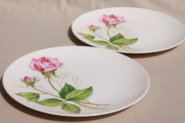 pink tea rose pattern plates mid-century vintage Knowles china retro pottery dinnerware & pink tea rose pattern plates mid-century vintage Knowles china ...