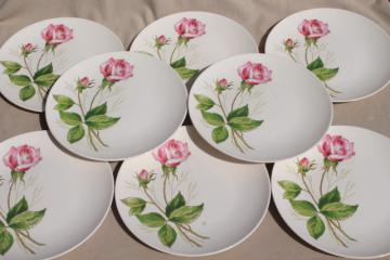 pink tea rose pattern plates, mid-century vintage Knowles china, retro pottery dinnerware