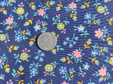 pink & yellow flowers on navy blue, 50s - 60s vintage quilting weight cotton fabric