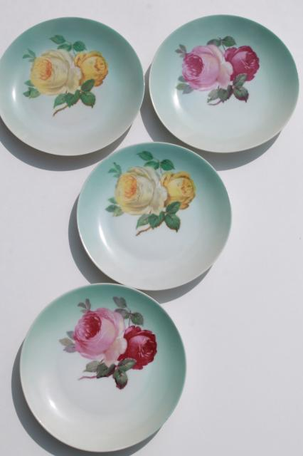 pink & yellow roses hand painted Bavaria china plates, vintage dessert set