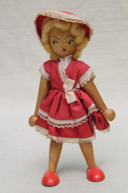 Pinocchio style jointed wood doll to stand amp pose vintage hand