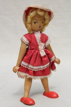 pinocchio style jointed wood doll to stand & pose, vintage hand painted puppet toy w/ cloth dress