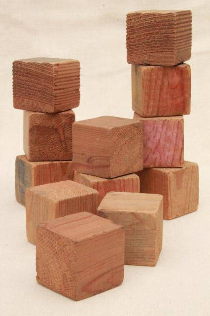 plain primitive handmade wooden blocks, 1930s depression era wood building block toy
