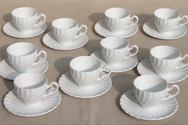 plain pure white china demitasse cups u0026 saucers vintage Johnson Bros Snowhite Regency & plain pure white china demitasse cups u0026 saucers vintage Johnson ...