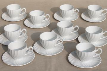 plain pure white china demitasse cups & saucers, vintage Johnson Bros Snowhite Regency