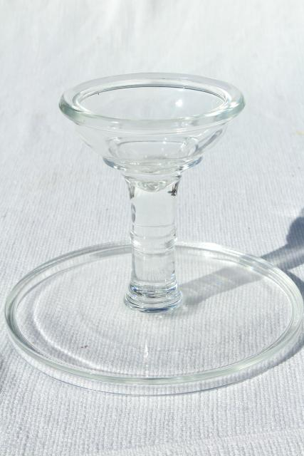 plain simple clear glass cake stand salver, vintage bakery pedestal plate