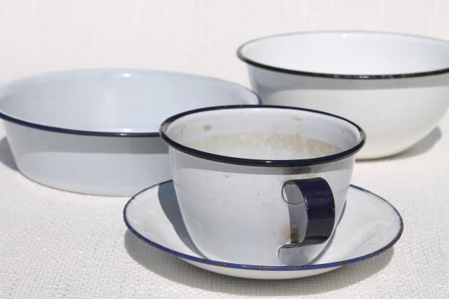 plain simple old white enamelware dishes, 1930s vintage large mug cup, camp plates & bowls