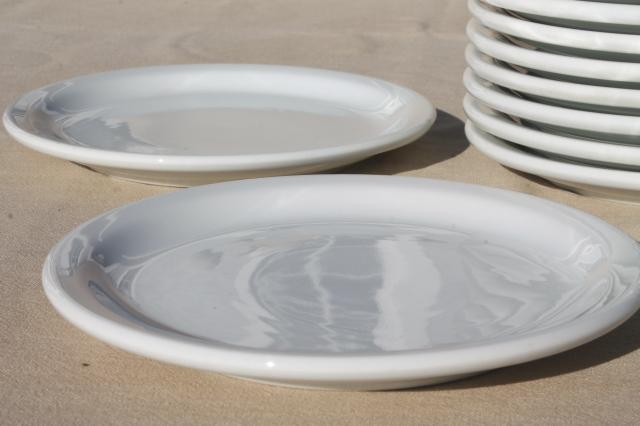 plain & simple vintage white ironstone china dishes, euro style all purpose plates