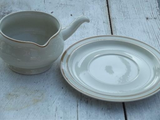 plain tan band border stoneware vintage Japan, Sweet Flowers gravy dish