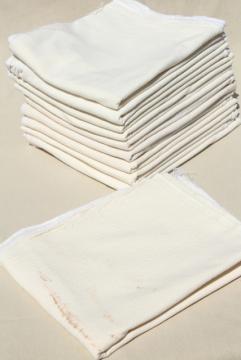plain unbleached cotton flour sack kitchen dish towels, vintage feedsack fabric
