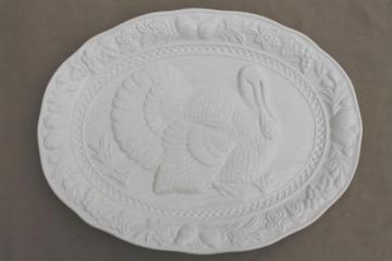 plain white Thanksgiving turkey platter w/ embossed turkey antique creamware style