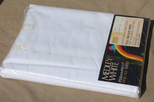 plain white easy care cotton poly blend sheets & pillowcases, vintage bed linens lot