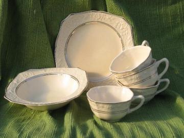 platinum trim Briar Rose vintage Salem china dishes, embossed floral rim
