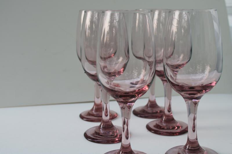 plum lavender pink colored glass wine glasses, Libbey premiere pattern