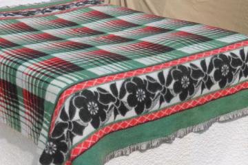 plush vintage cotton camp blanket, red & green plaid w/ black border print