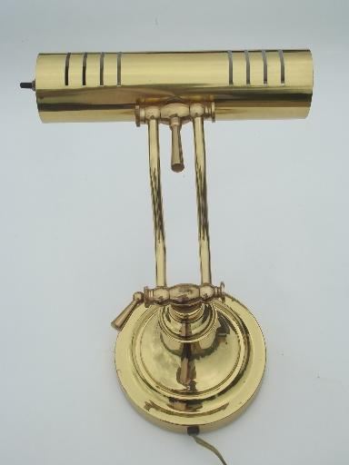 polished brass banker's lamp for desk or library table reading light