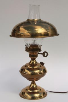 polished brass table or desk lamp w/ metal shade & glass chimney, old fashioned oil lamp