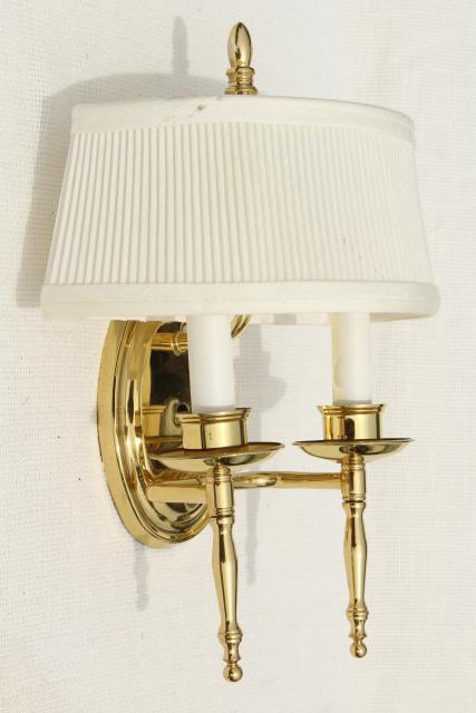 Wall Mount Lamp Shades : polished brass wall mount lights, pair candle sconces w/ vintage lamp shades