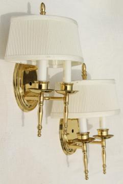 polished brass wall mount lights, pair candle sconces w/ vintage lamp shades
