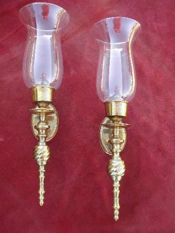 Brass Hurricane Wall Sconces For Candles : polished brass wall sconces for candles, candle sconce pair w/ glass hurricane shades