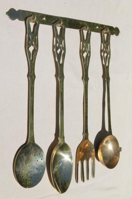 polished solid brass kitchen utensils w/ wall rack, large spoon & fork, skimmer, ladle