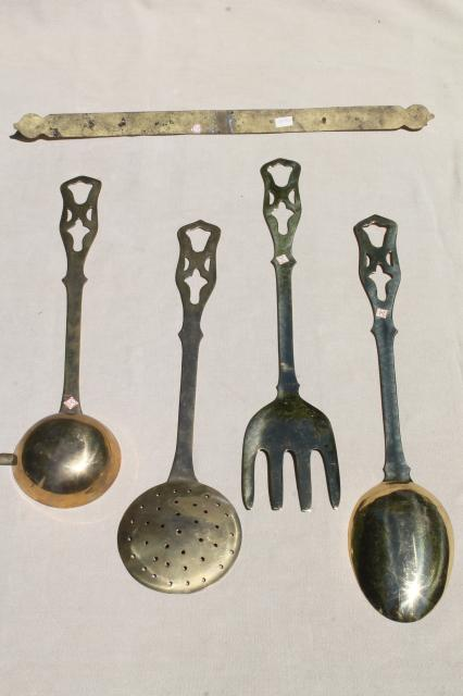 Polished Solid Brass Kitchen Utensils W Wall Rack Large