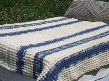 popcorn bobbles crochet afghan, hand-crocheted blanket or bedspread