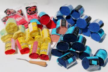 pre-cut latch hook rug yarn lot, red, blue, yellow wool & acrylic yarn rug making supplies