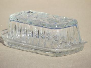 prescut star pattern glass butter dish, butter plate & cover vintage EAPC