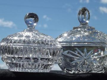 pressed glass candy dishes, 50s vintage crystal clear glass covered boxes