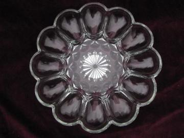 pressed glass egg plate, divided serving piece for deviled eggs