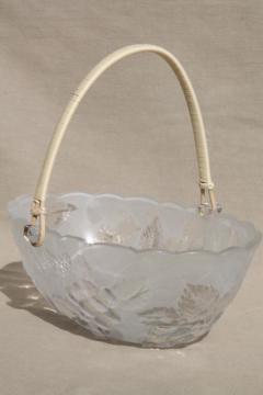 pressed glass fruit basket bowl, vintage Japan Laura glass label