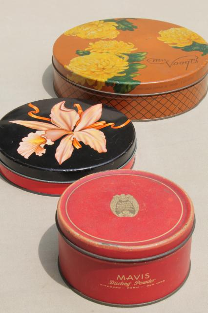 pretty lot of vintage tins, 1930s art deco candy boxes
