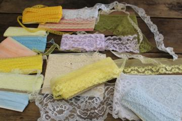 pretty pastel colors lace edging lot, vintage trim for crafts or sewing