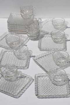 pretzel pattern glass snack sets, square plates & tea cups, vintage pressed glass luncheon set