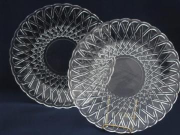 pretzel pattern pressed glass, large vintage sandwich / serving plates