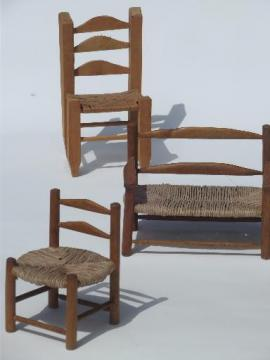 prim country shaker chairs for dolls or bears, old wood toy chair set