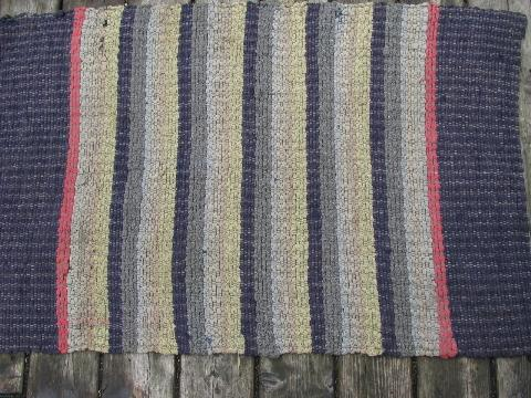 Primitive Antique Cotton Rag Rug, Vintage Kitchen Or Door Mat Throw Rug
