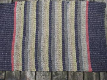 primitive antique cotton rag rug, vintage kitchen or door mat throw rug