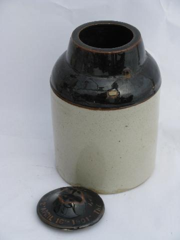 Primitive Antique Crock Jars Old Stoneware Pottery