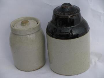 primitive antique crock jars, old stoneware pottery crockery canisters