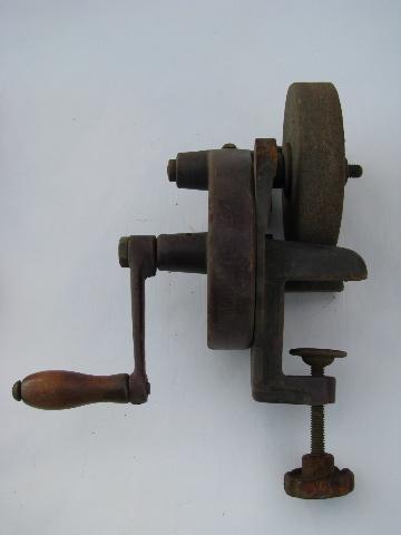 Primitive Antique Farm Tool Hand Grinder For Sharpening Knives Etc