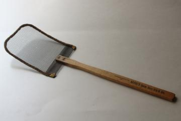 primitive antique fly swatter, window screen wire w/ wood handle candy store funeral furniture