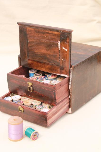 Primitive Antique Make Do Sewing Chest Drawers, Finger Jointed Wood Box  Thread Cabinet