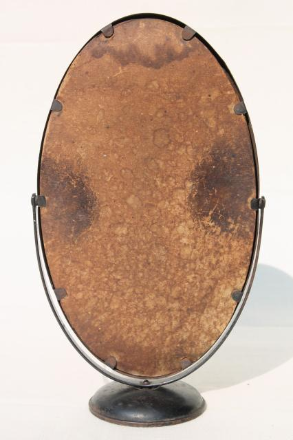 primitive antique metal frame mirror stand, oval shaving washstand mirror w/ black paint tin frame