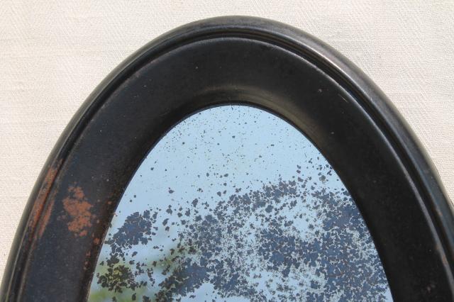 Primitive Antique Metal Frame Mirror Stand Oval Shaving