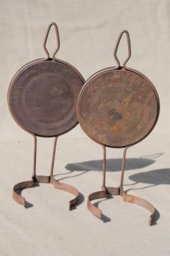 primitive antique metal oil lamp reflectors, wall hanger lamp holders for small oil lamps